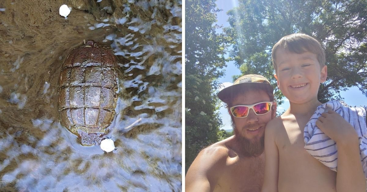 6 72.jpg?resize=1200,630 - Dad and Son Had a Lucky Escape When They Mistakenly Found a 'Turtle'