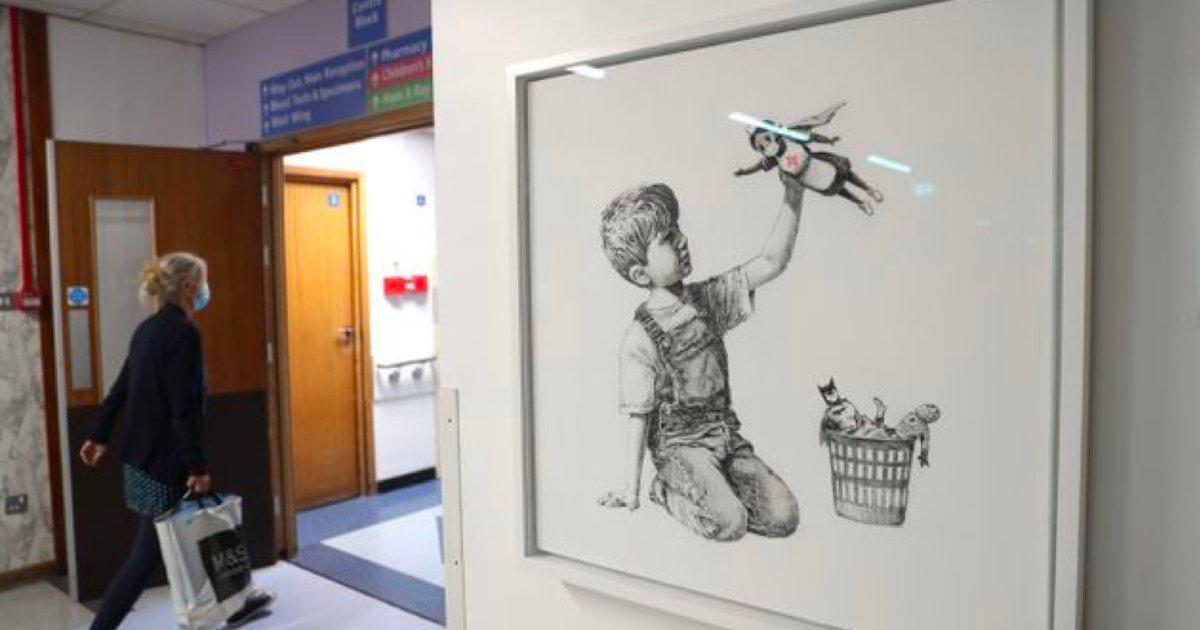 banksy.png?resize=1200,630 - La nouvelle œuvre de Banksy rend hommage aux personnels soignants