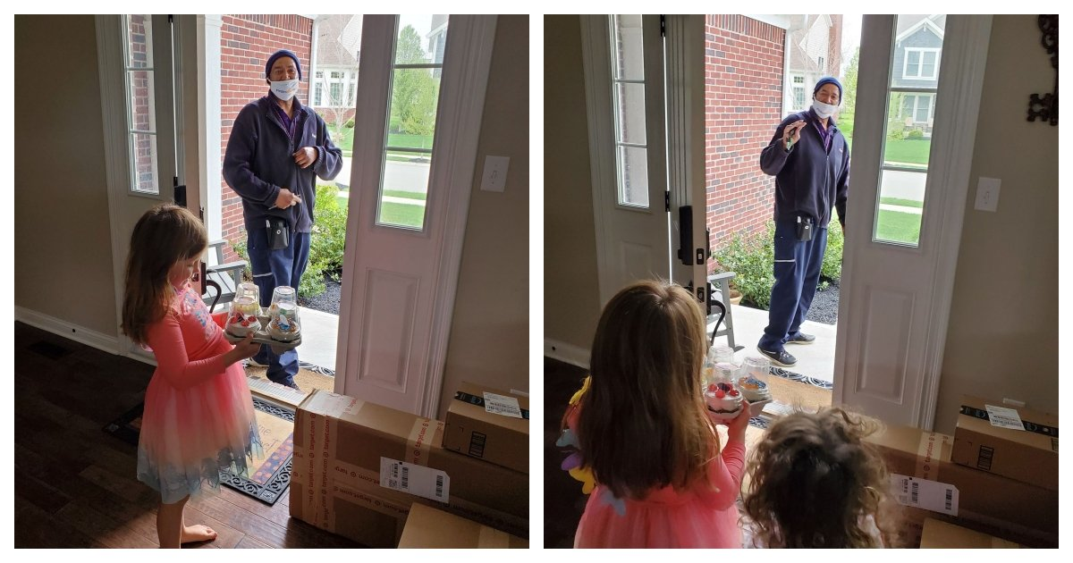 collage 23.jpg?resize=412,275 - FedEx Driver Surprises 6-Year-Old Girl By Buying Cupcakes For Her Birthday
