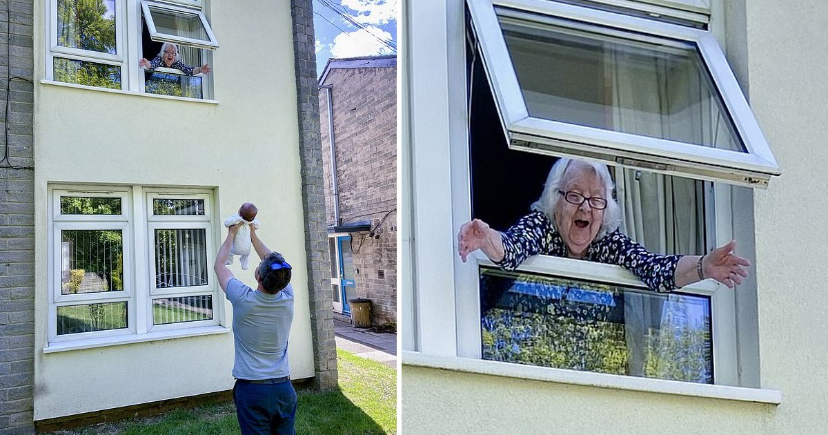 ggsdgsg.jpg?resize=1200,630 - 92 Year Old Granny Gets To See Her Great Grandchild Through The Window Because Of Social Distancing