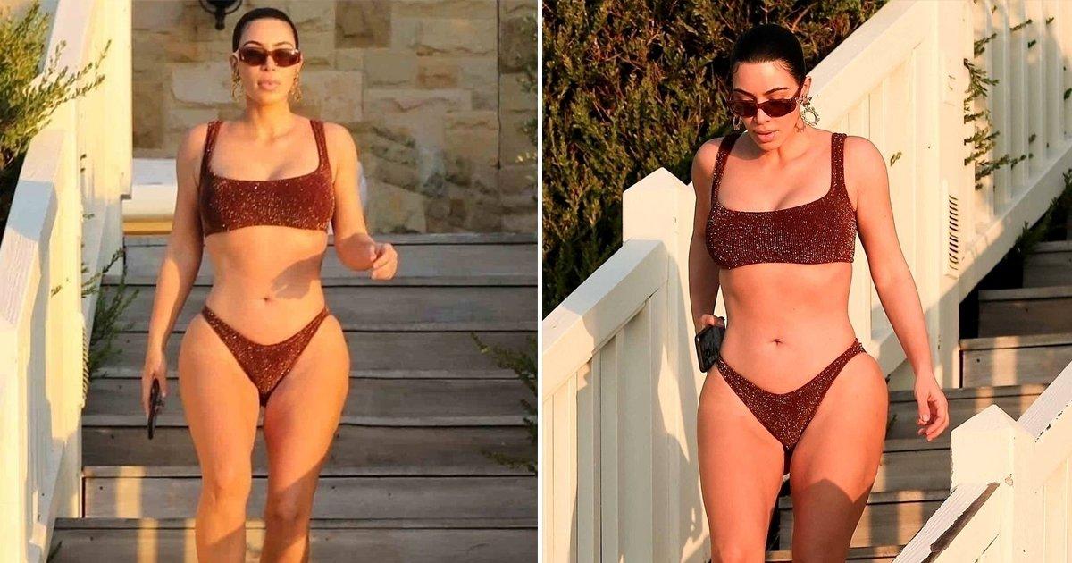 ggsss.jpg?resize=412,275 - Reality Star, Kim Kardashian, Shows Off Her Muscular Body In Bikini In Malibu