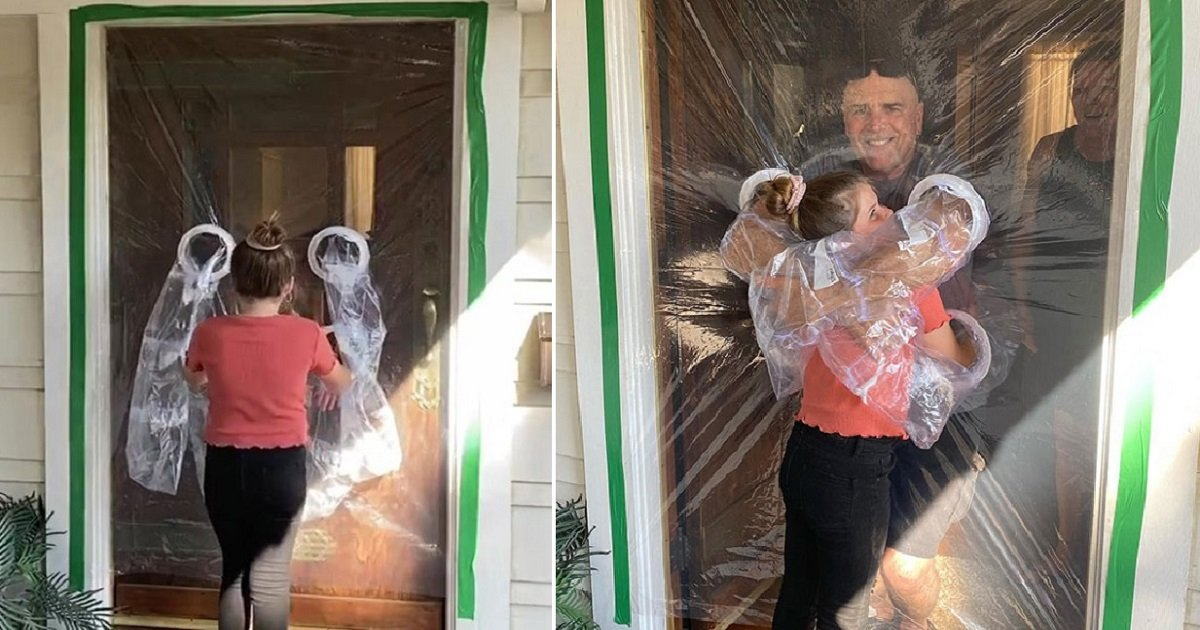 h3 4.jpg?resize=412,275 - 10-Year-Old Designed A Plastic Curtain So She Could Safely Hug Grandparents During Quarantine