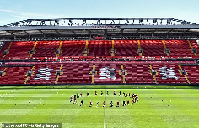 The first-team squad took a knee midway through their first training session back at Anfield