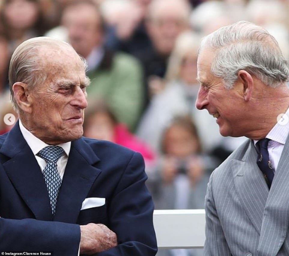 Prince Charles shared this photograph of him and Prince Philip laughing to mark his father