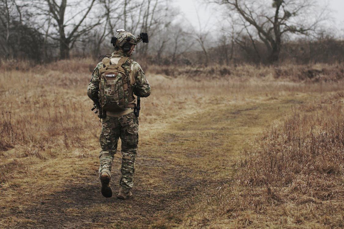 걷고 있는, 군대, 군복