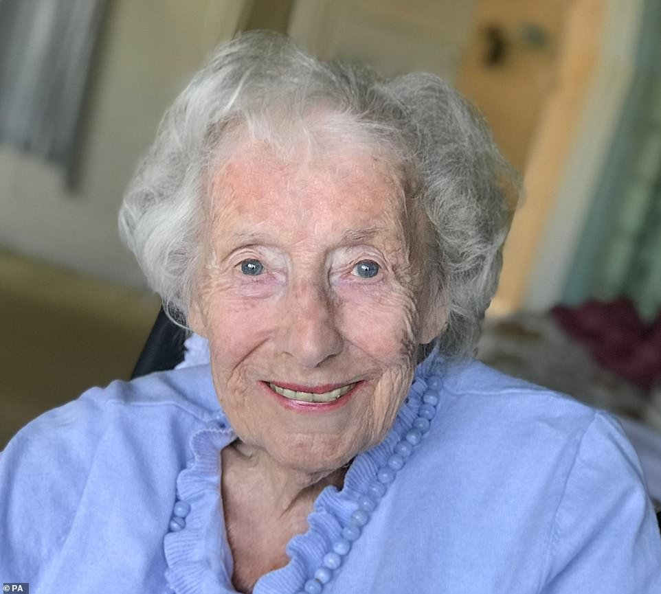 Dame Vera Lynn, pictured in her final known photograph on May 7 ahead of the 75th anniversary of VE Day, has died today aged 103