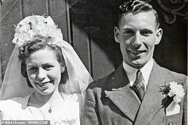 Pat and Ron Wood on their wedding day at at Broadwater Parish Church on April 23, 1949