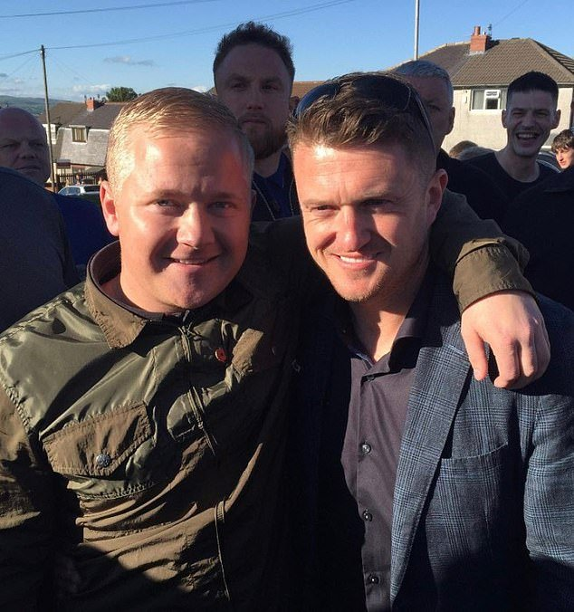 Jake Hepple (pictured left withEnglish Defence League founder Tommy Robinson) has claimed responsibility for the stunt