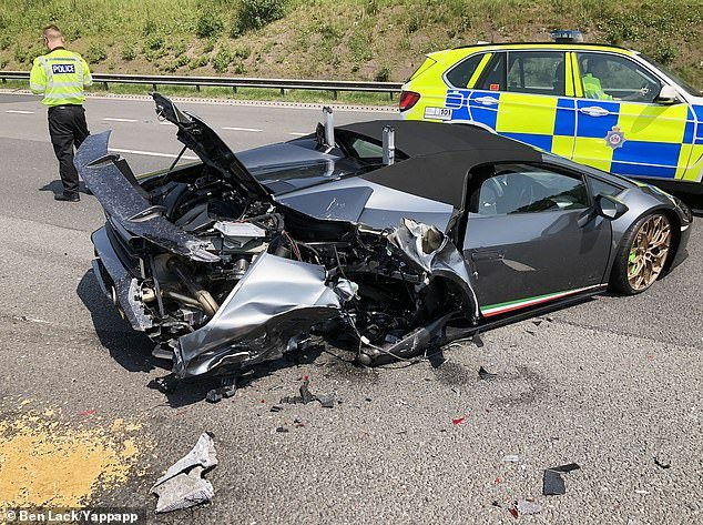 The Lamborghini Huracan, pictured, broke down in the fast lane of the M1 in Wakefield, west Yorkshire yesterday only 20 minutes after the owner picked up the car