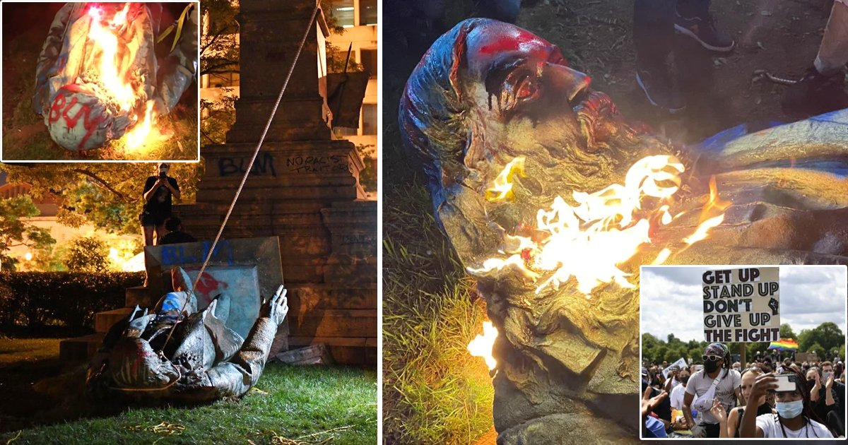 afdsdgg.jpg?resize=1200,630 - Protesters Pull Down and Burn Confederate General Statue in Washington DC