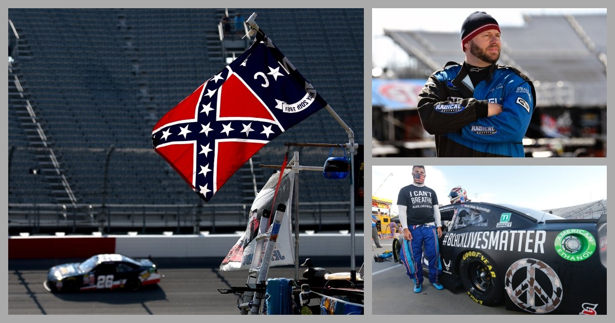 collage 34.jpg?resize=1200,630 - NASCAR Driver Quits After Company Bans Usage of Confederate Flags