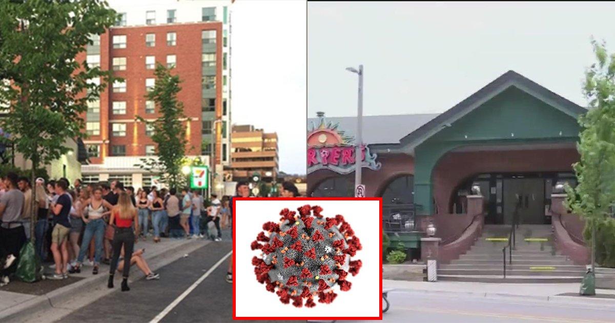 corona.jpg?resize=1200,630 - ' 마스크도 안낀채 다닥다닥 붙어서..' ... 미 대학가의 한  술집에서 85명이 집단으로 코로나19 바이러스에 감염되었다