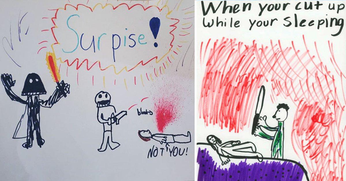 creepy kids drawings.jpg?resize=412,232 - 10 Creepy Kids Drawings That Are Hauntingly Artistic