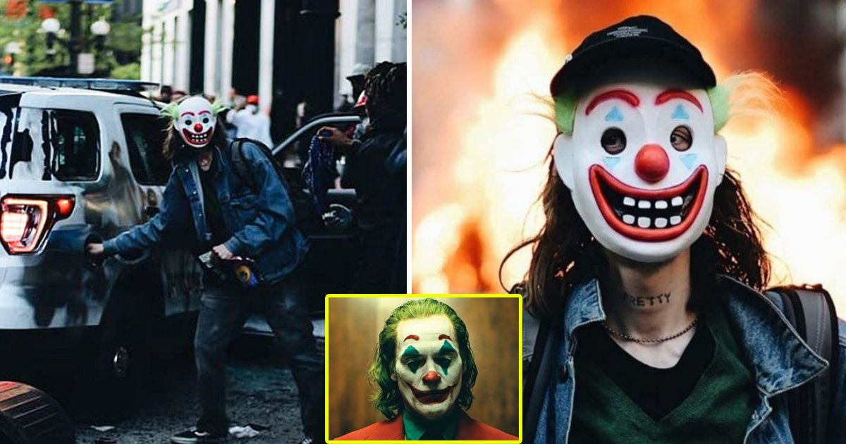 joker 2.jpg?resize=1200,630 - Man In 'Joker' Mask Allegedly Torched A Police Car During George Floyd Protests