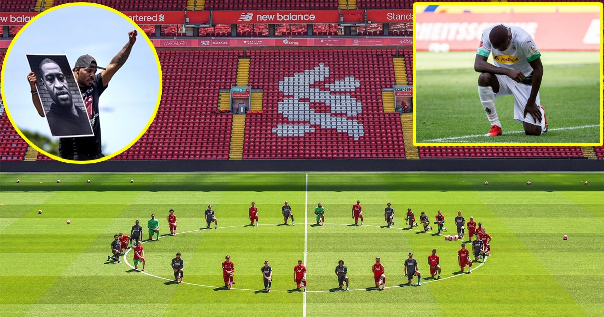 liverpool fc blacklives matter 1.jpg?resize=1200,630 - Liverpool Players Took a Knee to Show Solidarity with BlackLivesMatter Movement on Monday