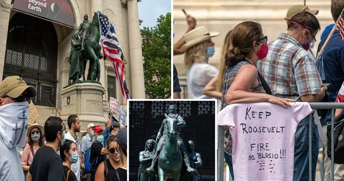 untitled design 1 24.jpg?resize=1200,630 - Protesters Gathered To Protect Teddy Roosevelt Statue After NYC Officials Backed Its Removal