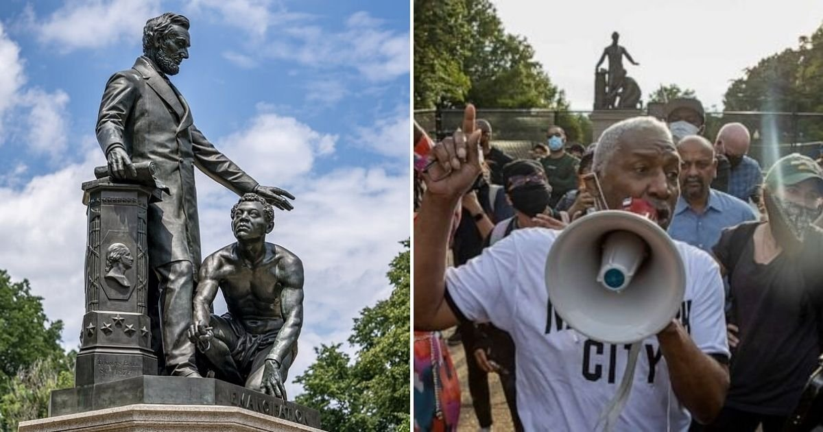 untitled design 23.jpg?resize=300,169 - Protesters Vow To Remove The Statue Of President Abraham Lincoln And Kneeling Freed Slave
