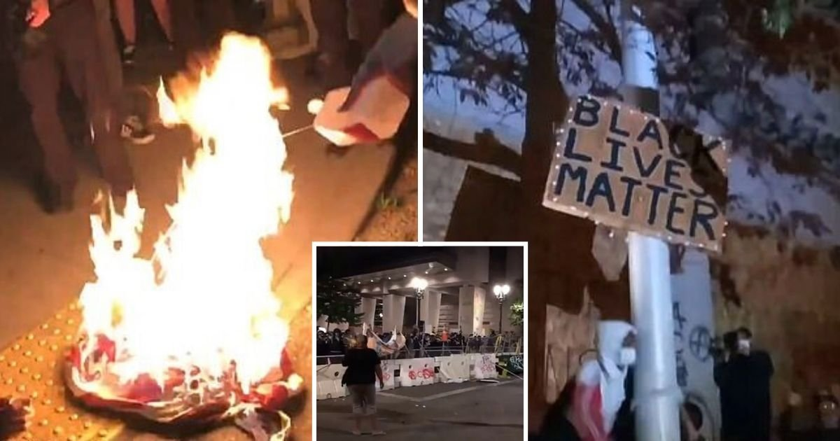 untitled design 24.jpg?resize=1200,630 - Protesters Burned American Flag And Replaced It With BLM Sign Outside Justice Center