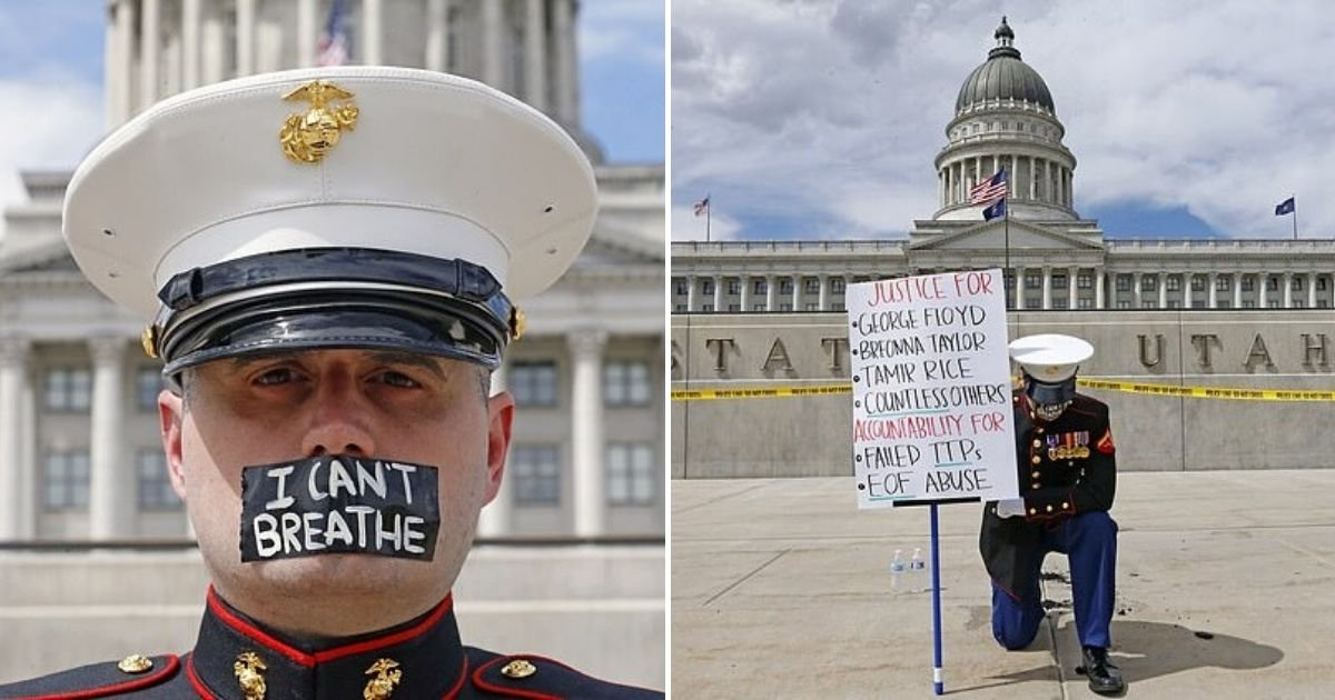 untitled design 3 3.jpg?resize=1200,630 - Decorated Marine Veteran Held A One-Man Protest By Standing In Heat For Hours