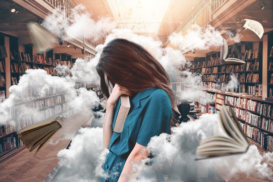 여자, 라이브러리, 책, 연구, 읽기, 알고있다, 문학, 역사적으로, 자세히, 교육, 선반, 책장