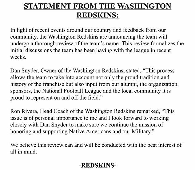 The Redskins say they will listen to input from team alumni, sponsors, and the local community