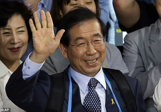 Officers found the body of Seoul mayor Park Won-soon, pictured above, who turned his phone off and left a message with
