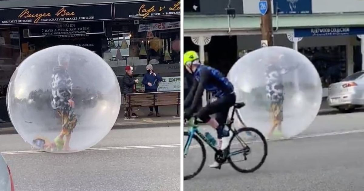 6 73.jpg?resize=1200,630 - Man Seen Wandering In The Streets While In  a Giant Bubble To Protect Himself Against Coronavirus