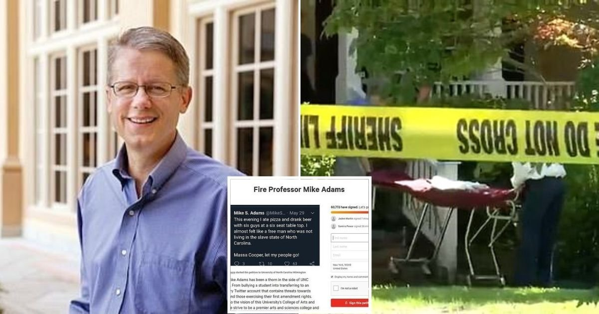 adams8.jpg?resize=1200,630 - Professor, 55, Found Dead After Petitions To Have Him Fired Over His Tweets Received 88,000 Signatures