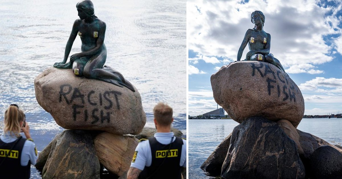 racist fish.jpg?resize=1200,630 - The Little Mermaid Statue In Copenhagen Vandalized For Being The 'Racist Fish'