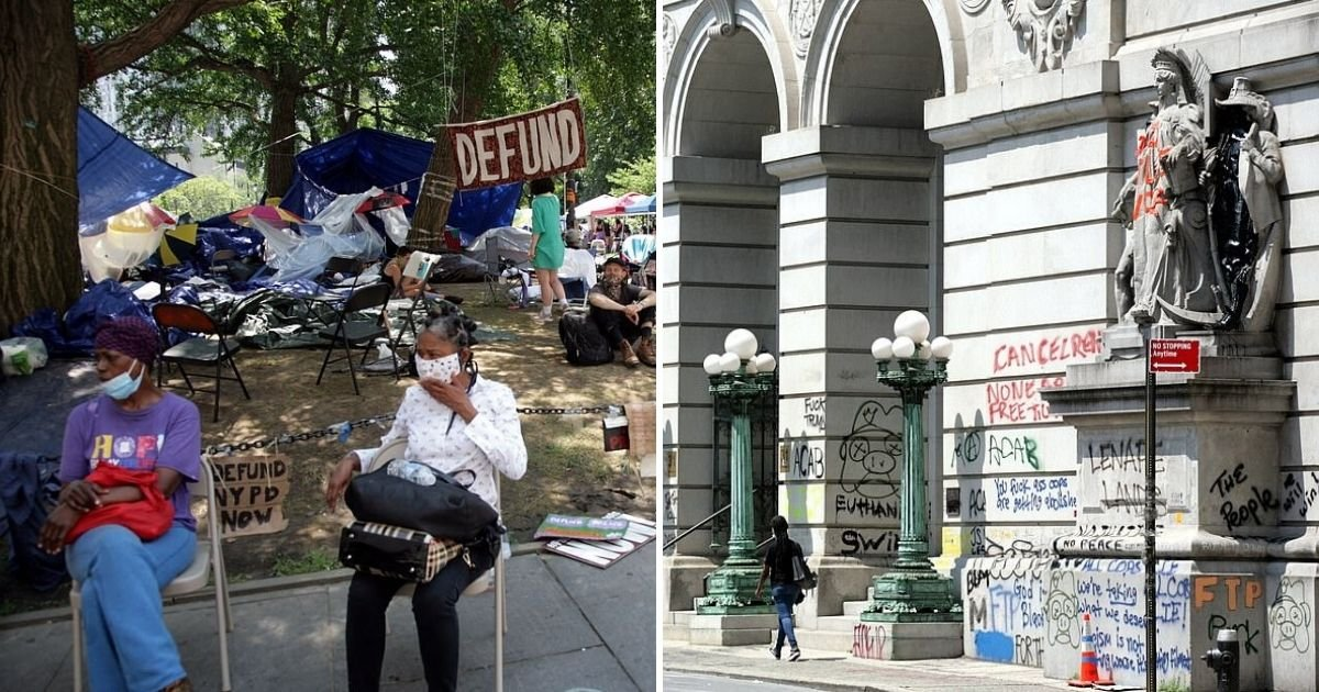 untitled design 2 3.jpg?resize=300,169 - City Hall Protesters Barricaded Subway And Covered Buildings In Graffiti