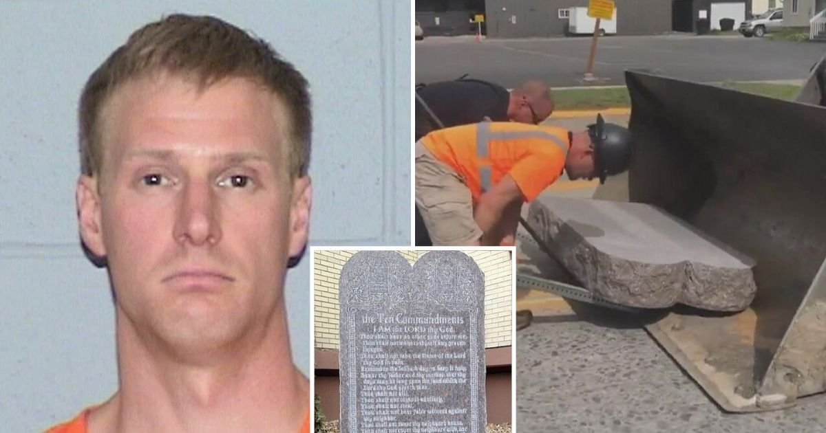 untitled design 3.jpg?resize=1200,630 - Man Arrested After Destroying The Ten Commandments Monument With His Truck