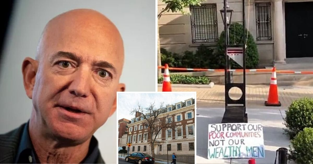 untitled design 5.jpg?resize=1200,630 - Protesters Placed A Guillotine In Front Of Jeff Bezos' Home Amid Demands To Abolish Amazon