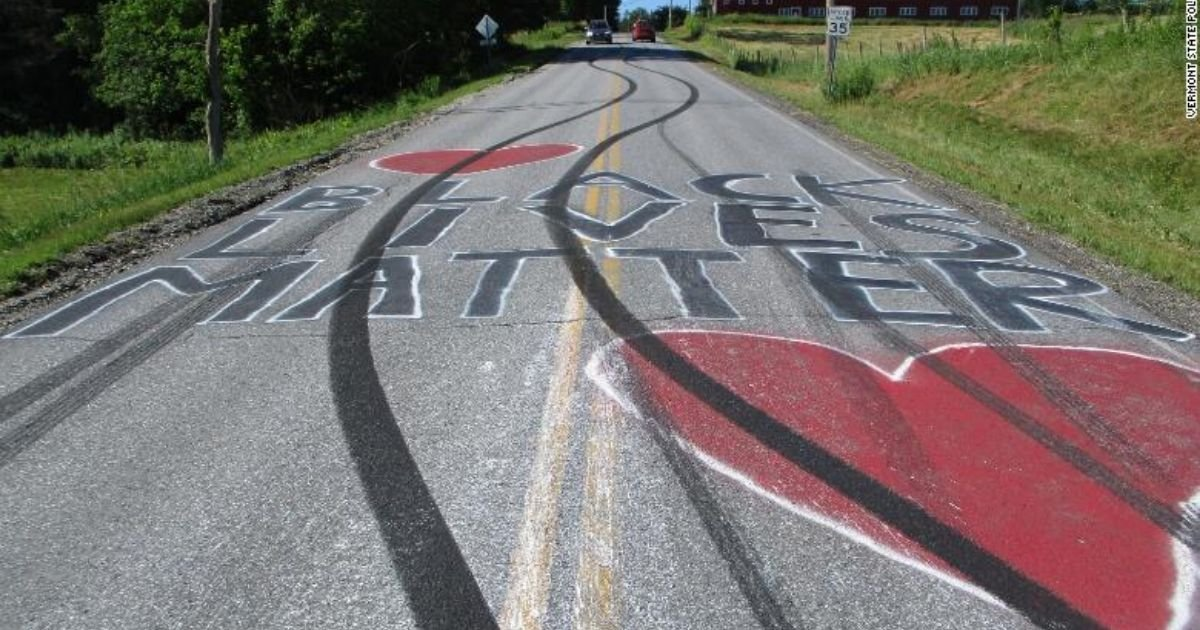 vermont state police.jpg?resize=1200,630 - State Police Say That Black Lives Matter Roadway Murals Was Defaced in Vermont