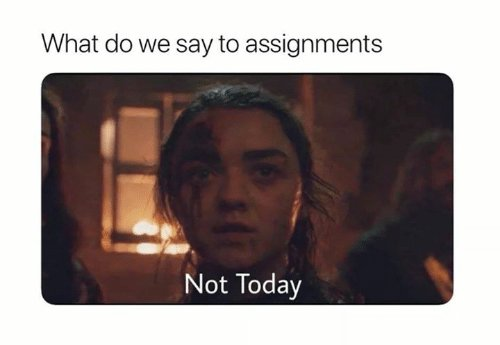 What Do We Say to Assignments Not Today | Funny Meme on ME.ME