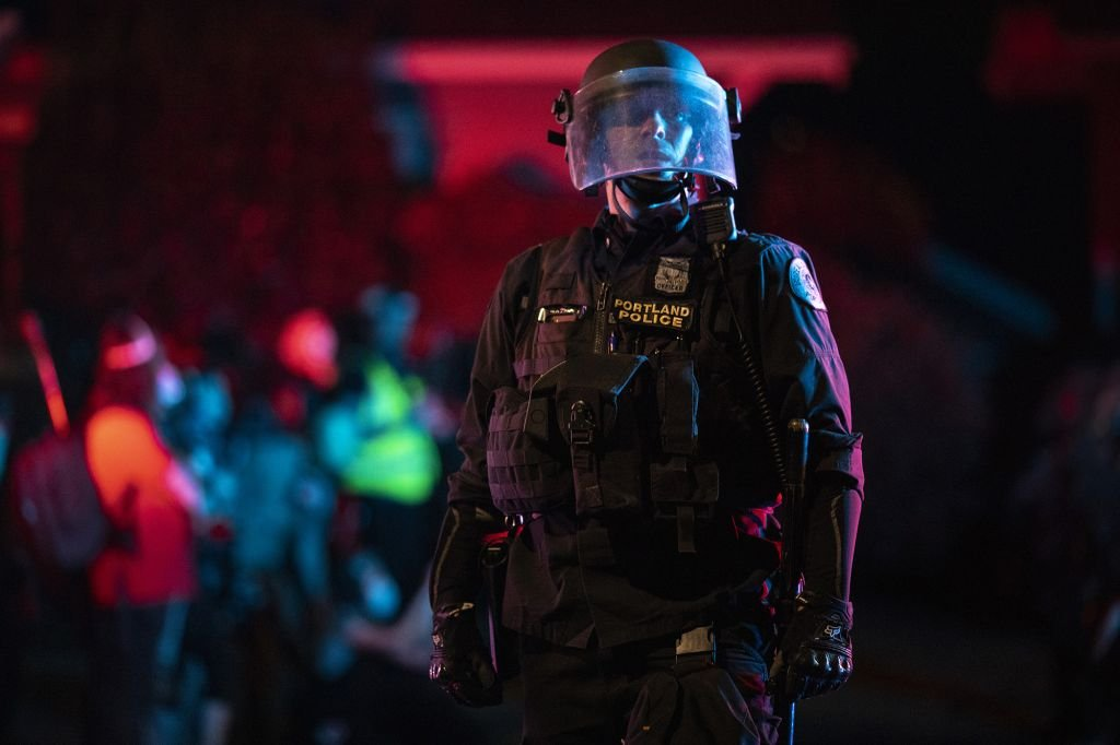Portland cops hurt by 10-pound rock thrown by protestors