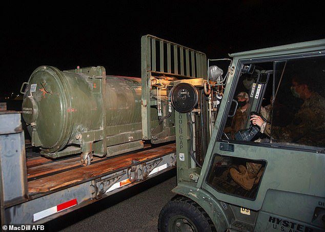 Bomb disposal experts from the US Air Force were called in to remove it and brought a flatbed truck with them in order to take the unusual item away