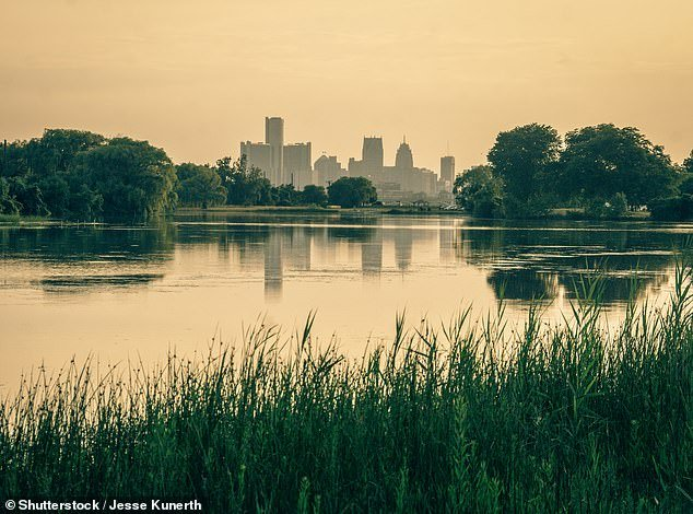 Johnson, 48, was off-duty and walking with his 10-year-old daughter Friday night near the Detroit Yacht Club on Belle Isle when they heard three young girls screaming for help from the water (pictured: stock image of Belle Isle, Detroit)