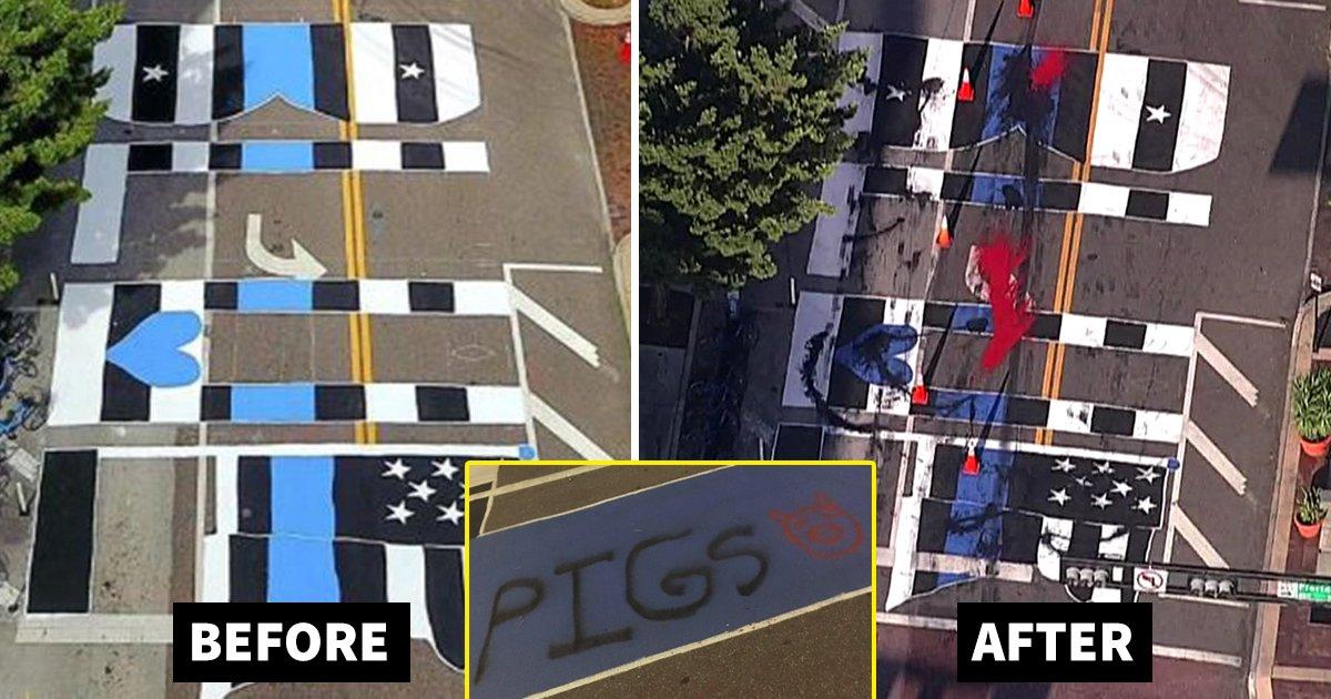 blue.jpg?resize=1200,630 - 4 Arrested As Florida's Pro-Police 'Back The Blue' Mural Gets Vandalized