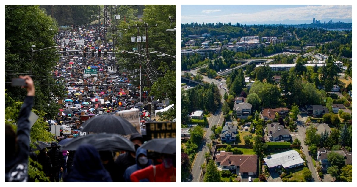 collage 39.jpg?resize=1200,630 - Protestors In Seattle March Through A Residential Area Demanding Owners To Give Up Their Homes