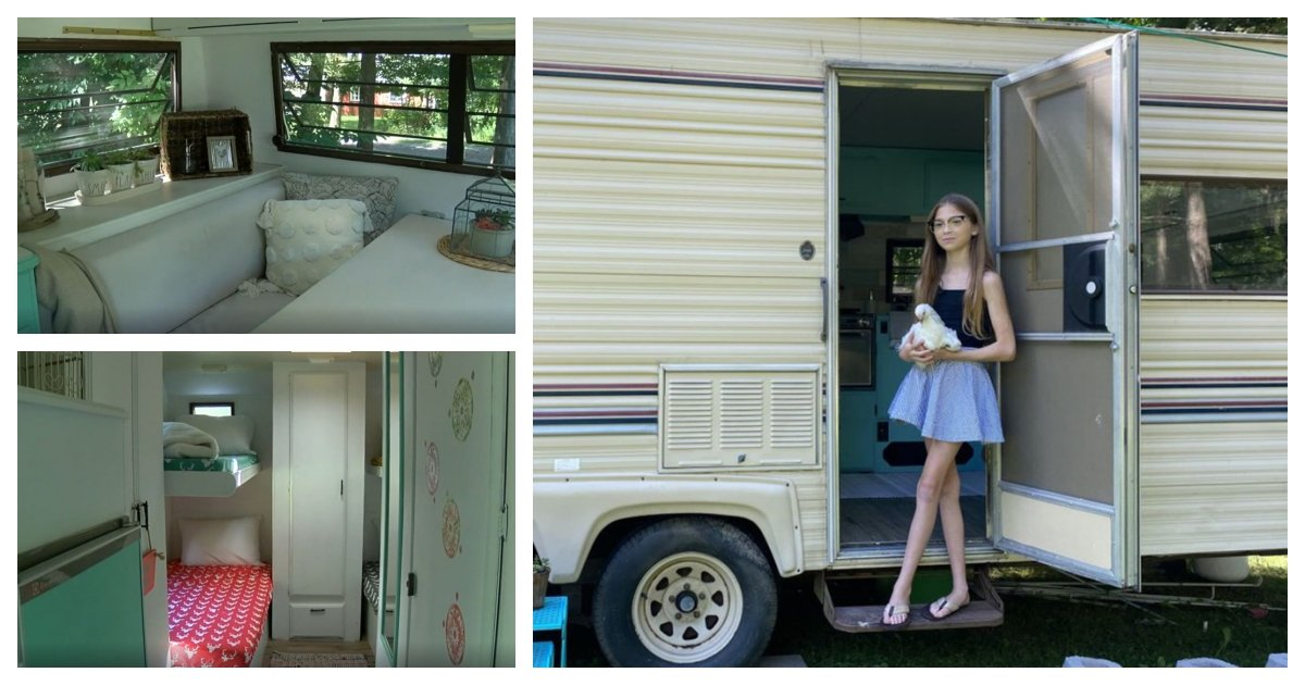 collage 54.jpg?resize=1200,630 - 11-Year-Old Girl Built A Tiny House For Just $800 By Renovating A Derelict RV