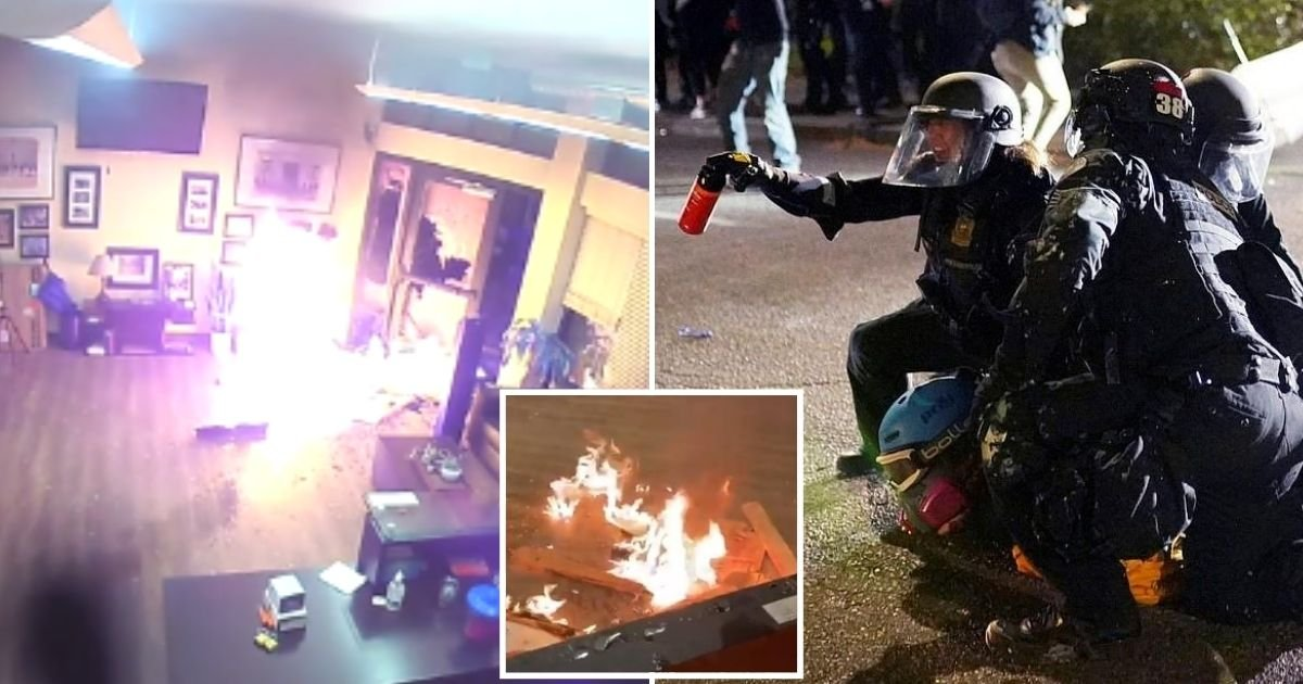 fire5.jpg?resize=1200,630 - Protesters Set Police Union Building On Fire As Officers Deploy Chemicals And Declare A Riot