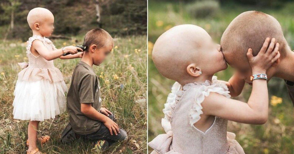 kiss.png?resize=412,232 - 抗がん剤で髪の毛が抜け落ちてしまった3歳の妹に「お前はひとりじゃない」と自ら坊主頭にさせた兄のエピソードが話題に