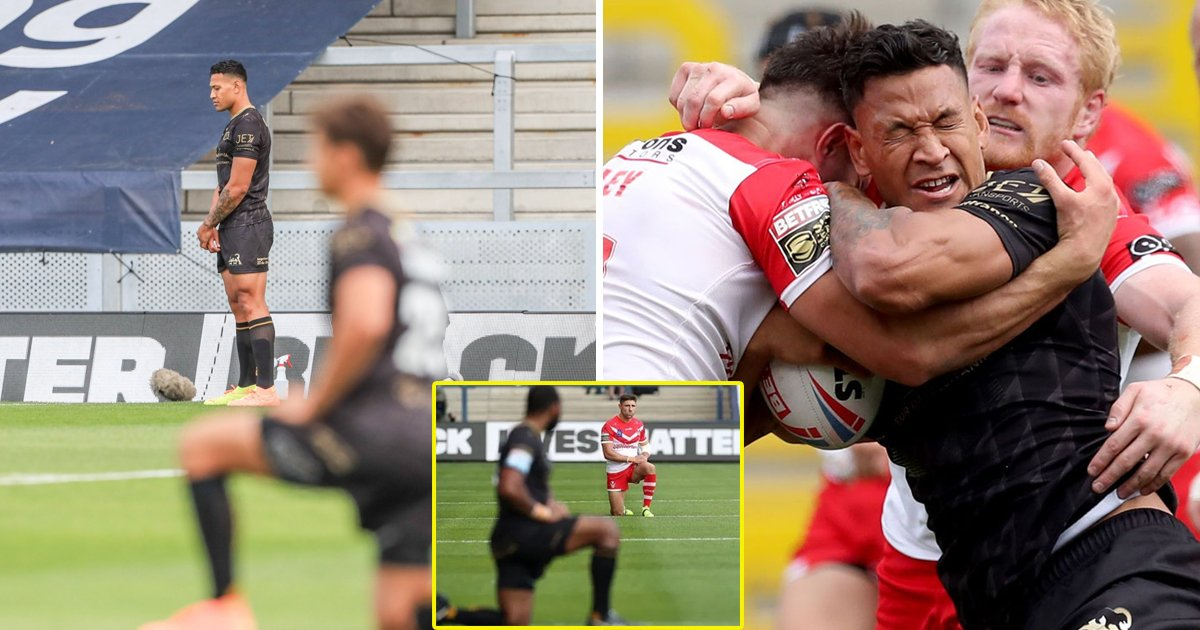 kneel.jpg?resize=1200,630 - Controversial Rugby Star Israel Folau Refuses To Kneel Before Super League Clash