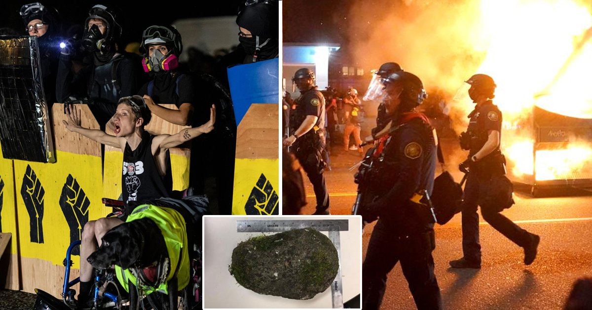 police 3.jpg?resize=412,232 - Black Lives Matter Protestors Threw 10-pound Heavy Rock, Injuring Two Officers In Portland