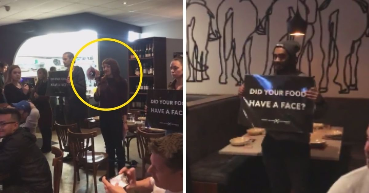 protest6.jpg?resize=1200,630 - Group Of Vegan Protesters Storm Restaurant And Shouted At Diners