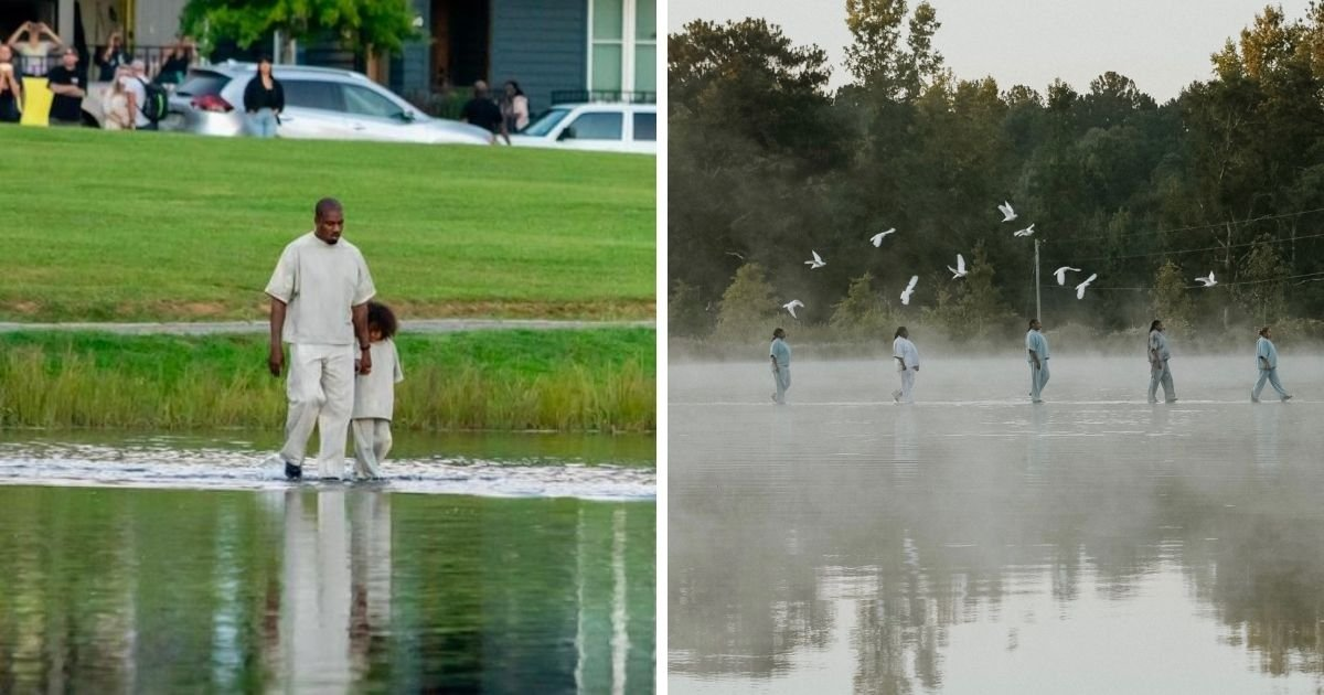 1 67.jpg?resize=1200,630 - Kanye West Shocks Fans As He 'Walks On Water' During Sunday Service