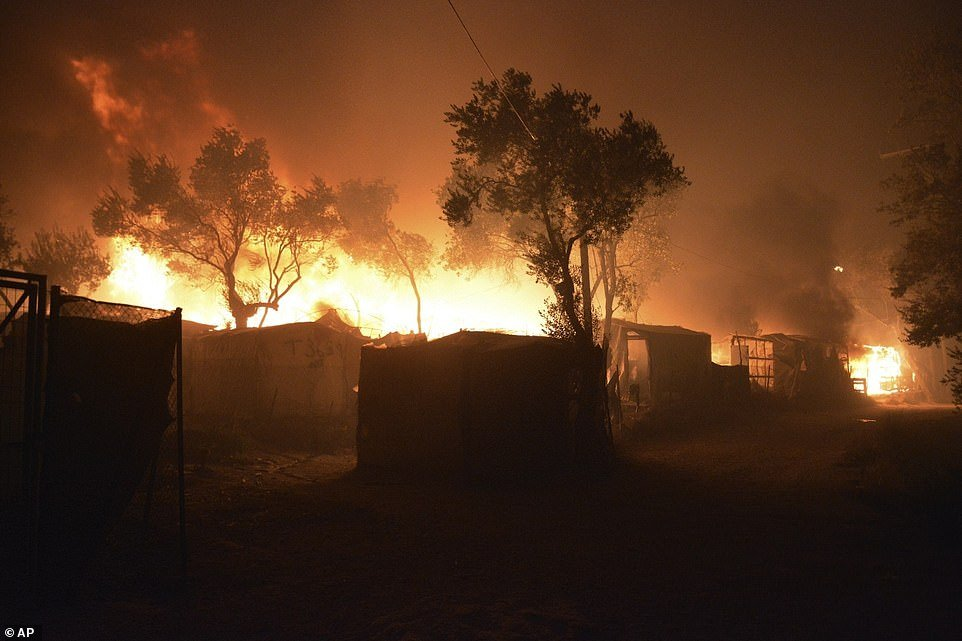 Fire has almost completely destroyed Moria, the largest migrant camp on the Greek island of Lesbos, leaving more than 12,000 asylum seekers without shelter
