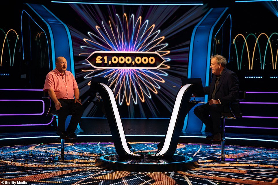 Donald Fear is pictured with host Jeremy Clarkson winning the highest prize on Who Wants to be a Millionaire