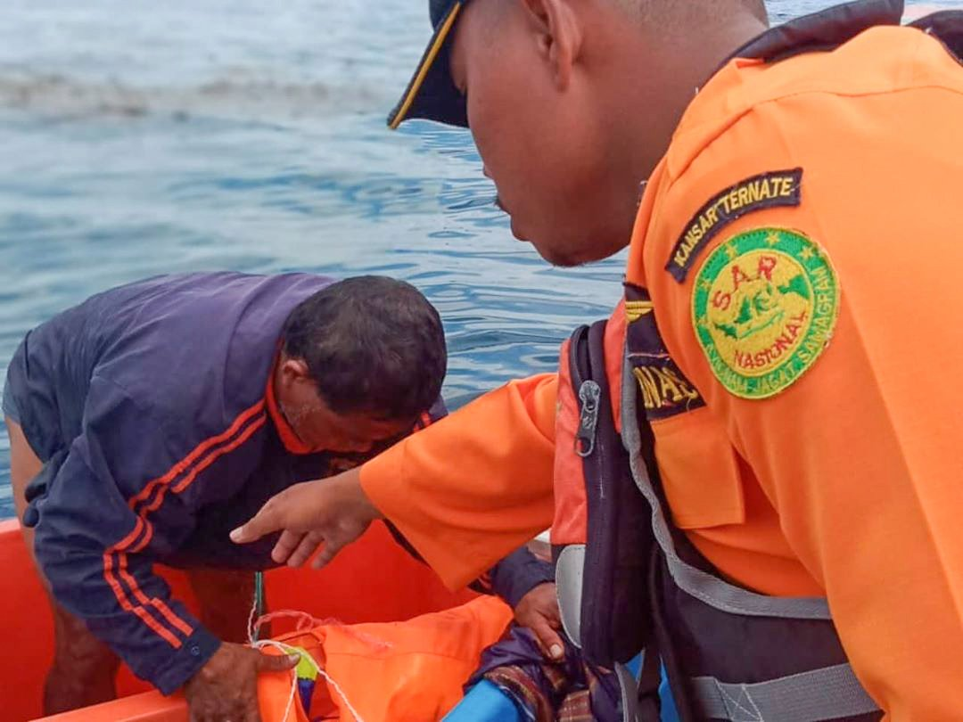 Rescue teams brought the 46-year-old to hospital after he was found at sea