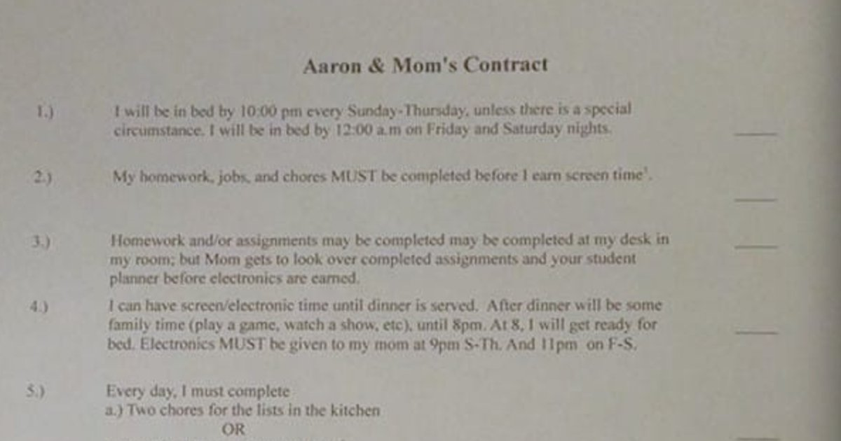 aaron mom contract.jpg?resize=1200,630 - Mother Made A Clear List Of Guidelines To Treat Her Son Like An Adult